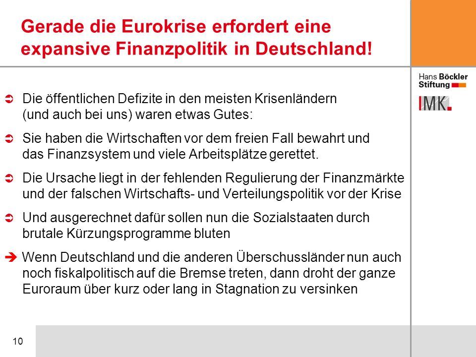 Gerade die Eurokrise erfordert eine expansive Finanzpolitik in Deutschland!
