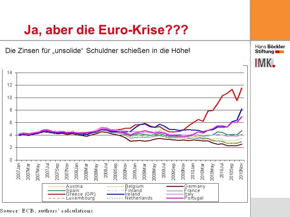 """Ja, aber die Euro-Krise Die Zinsen für """"unsolide Schuldner schießen in die Höhe!"""