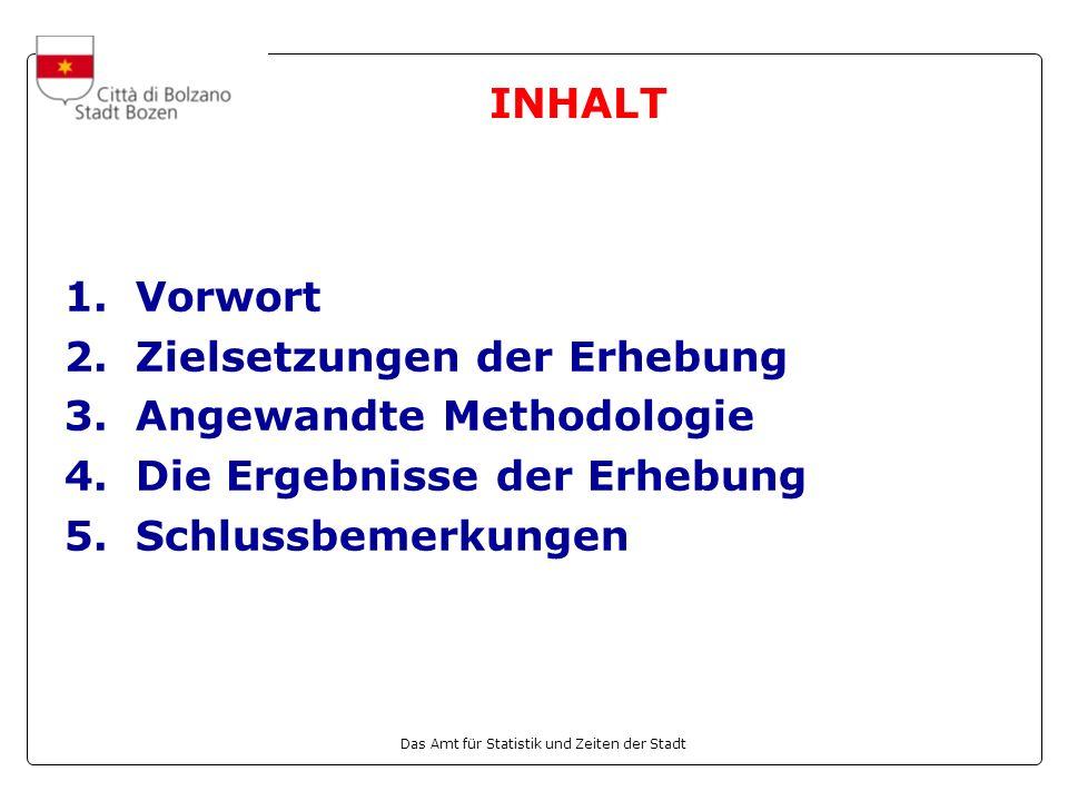 INHALT 1. Vorwort. 2. Zielsetzungen der Erhebung. 3. Angewandte Methodologie. Die Ergebnisse der Erhebung.