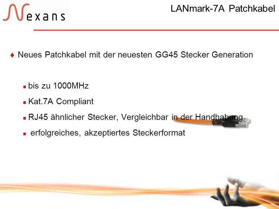 LANmark-7A Patchkabel Neues Patchkabel mit der neuesten GG45 Stecker Generation. bis zu 1000MHz. Kat.7A Compliant.
