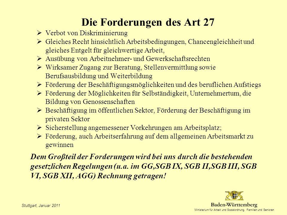 Die Forderungen des Art 27