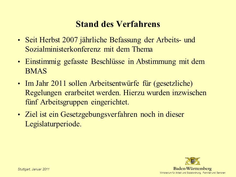 Stand des Verfahrens Seit Herbst 2007 jährliche Befassung der Arbeits- und Sozialministerkonferenz mit dem Thema.