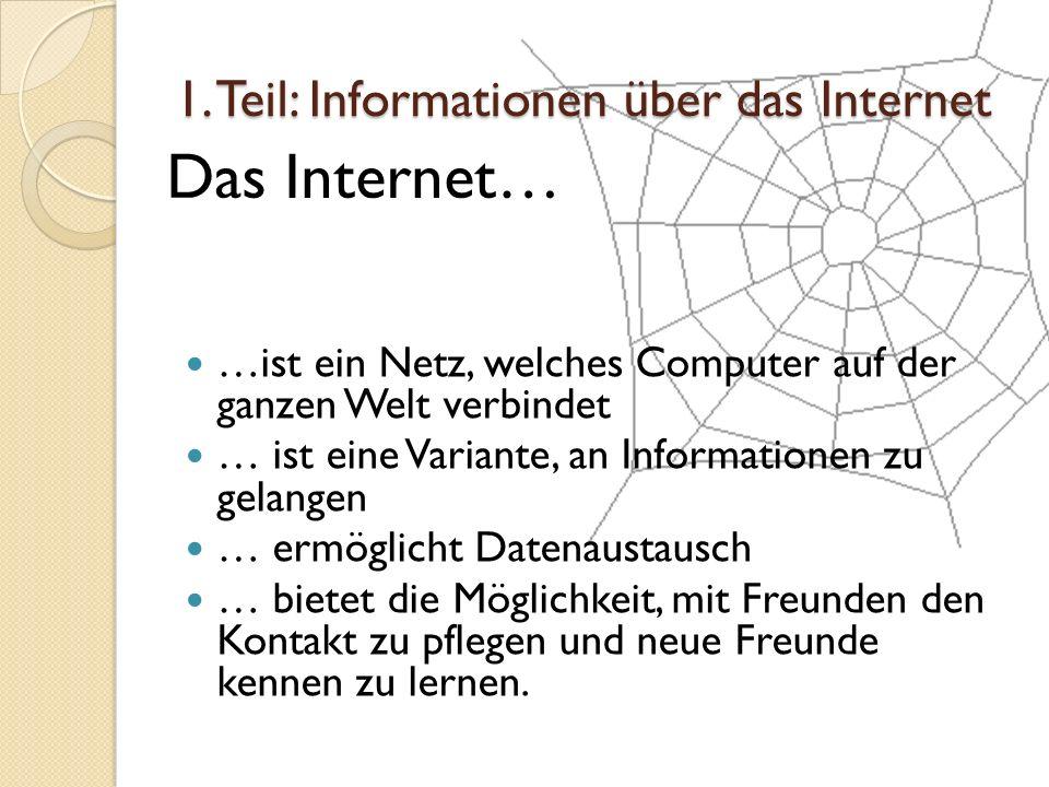 1. Teil: Informationen über das Internet
