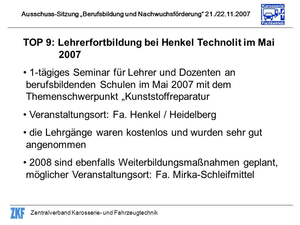 TOP 9: Lehrerfortbildung bei Henkel Technolit im Mai 2007