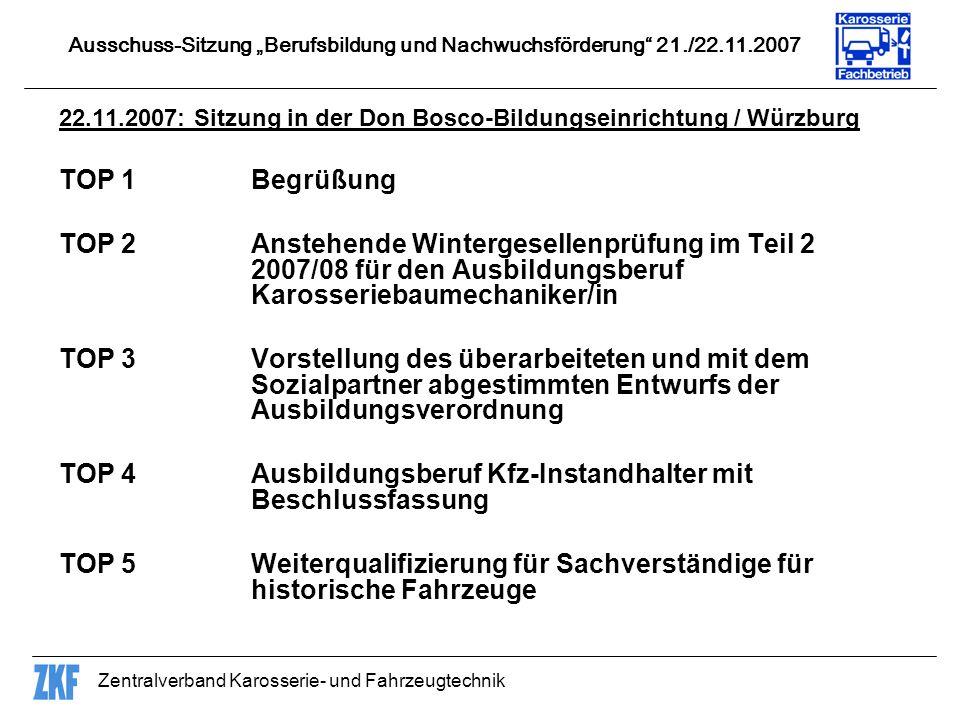 TOP 4 Ausbildungsberuf Kfz-Instandhalter mit Beschlussfassung