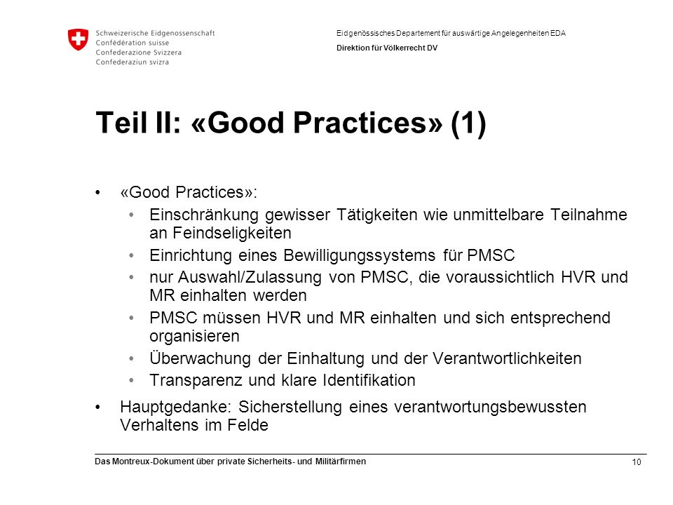Teil II: «Good Practices» (1)