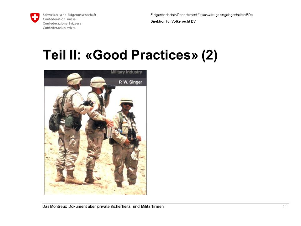 Teil II: «Good Practices» (2)