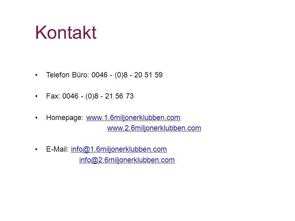 Kontakt Telefon Büro: 0046 - (0)8 - 20 51 59