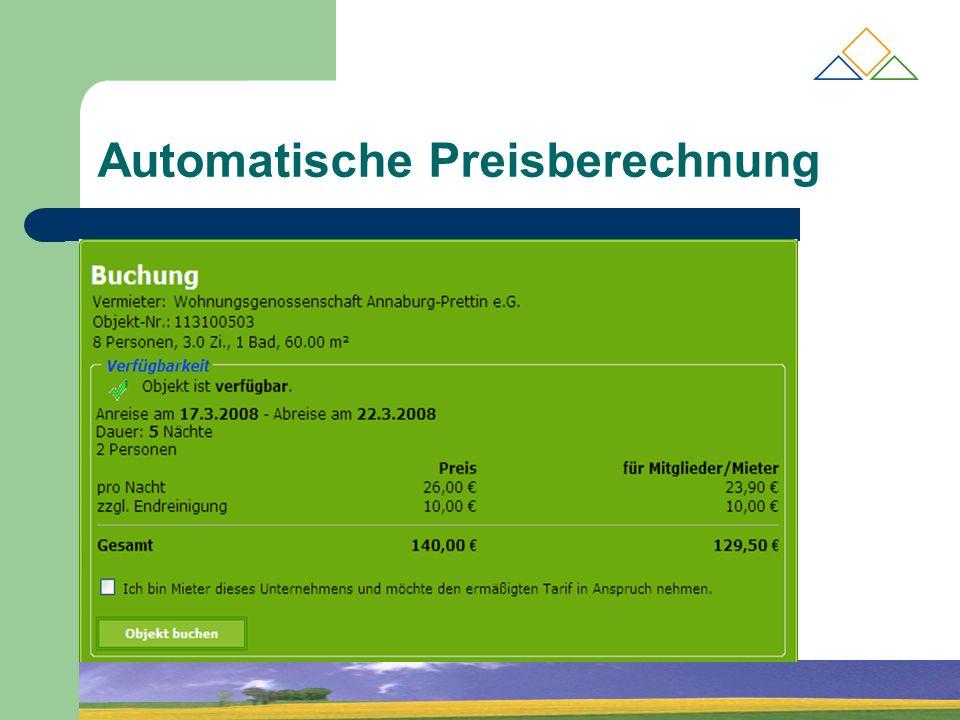 Automatische Preisberechnung