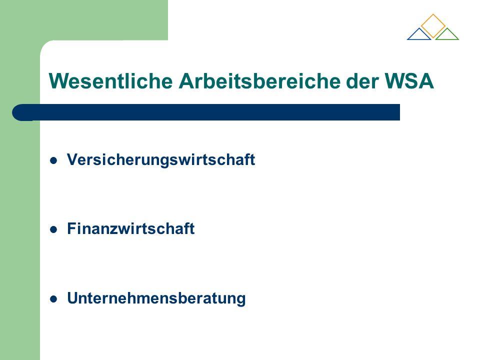 Wesentliche Arbeitsbereiche der WSA