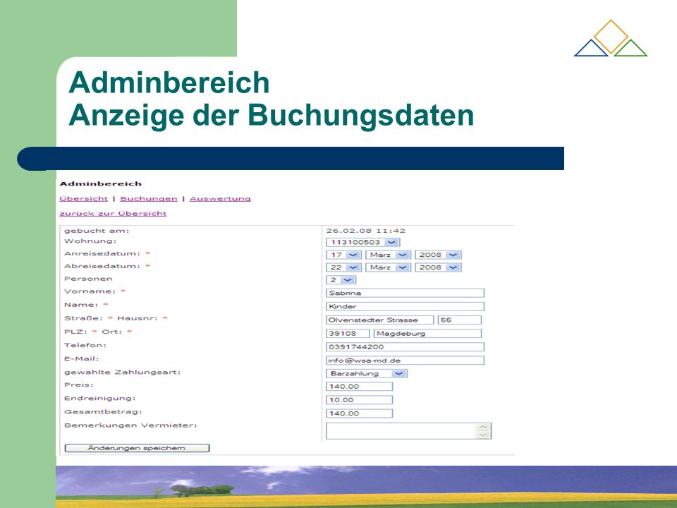 Adminbereich Anzeige der Buchungsdaten