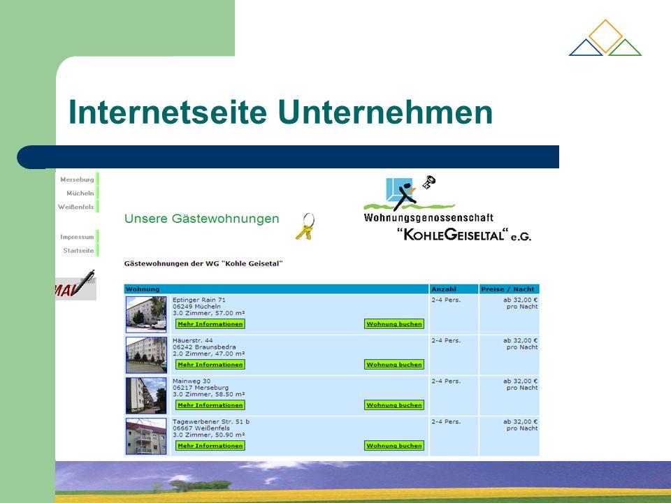 Internetseite Unternehmen