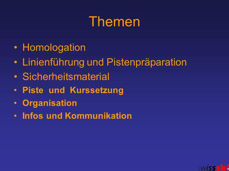 Themen Homologation Linienführung und Pistenpräparation