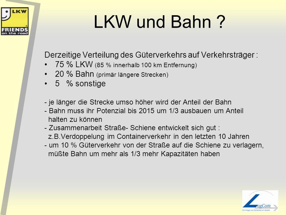 LKW und Bahn Derzeitige Verteilung des Güterverkehrs auf Verkehrsträger : 75 % LKW (85 % innerhalb 100 km Entfernung)