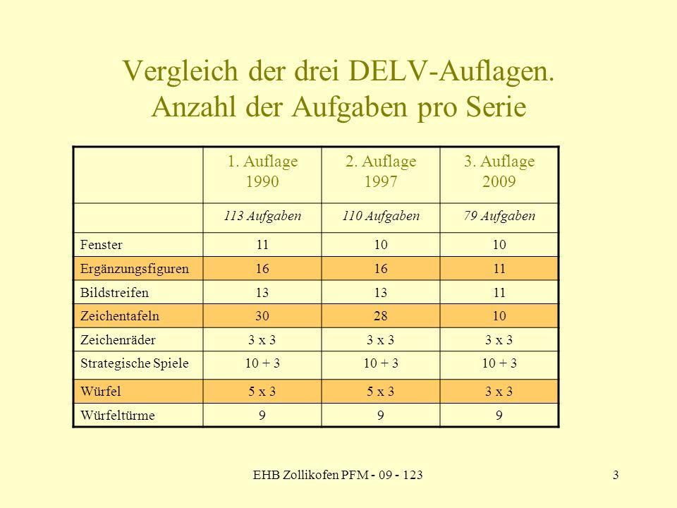 Vergleich der drei DELV-Auflagen. Anzahl der Aufgaben pro Serie