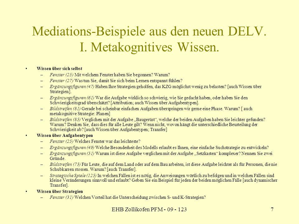 Mediations-Beispiele aus den neuen DELV. I. Metakognitives Wissen.
