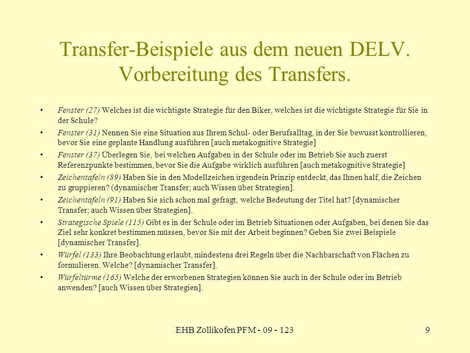 Transfer-Beispiele aus dem neuen DELV. Vorbereitung des Transfers.