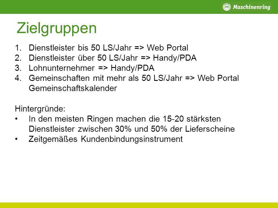 Zielgruppen Dienstleister bis 50 LS/Jahr => Web Portal