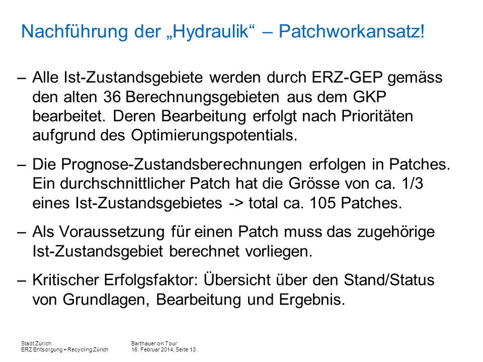 """Nachführung der """"Hydraulik – Patchworkansatz!"""