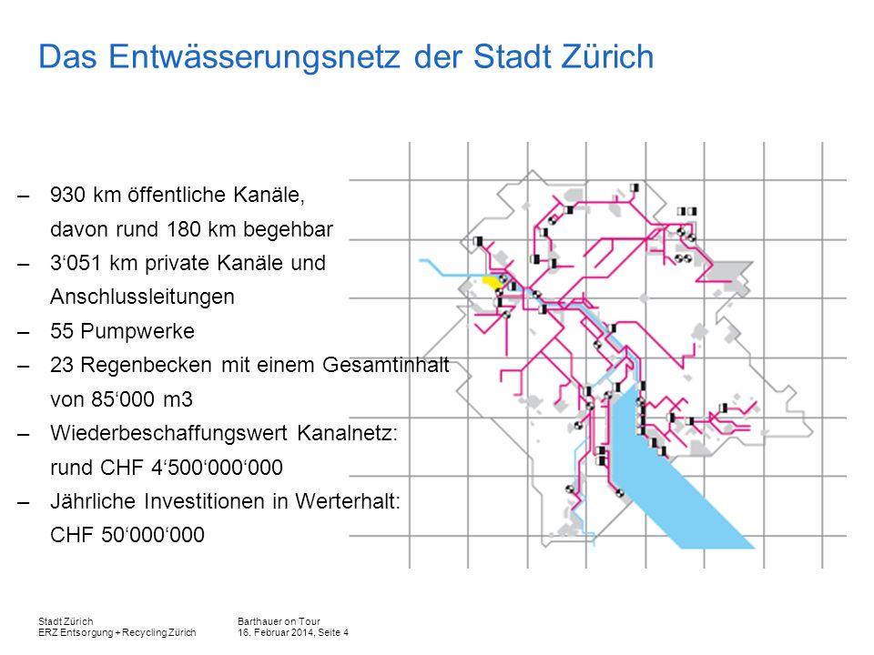Das Entwässerungsnetz der Stadt Zürich