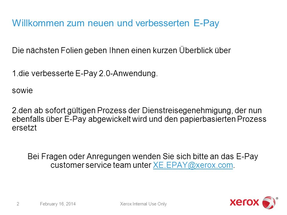 Willkommen zum neuen und verbesserten E-Pay