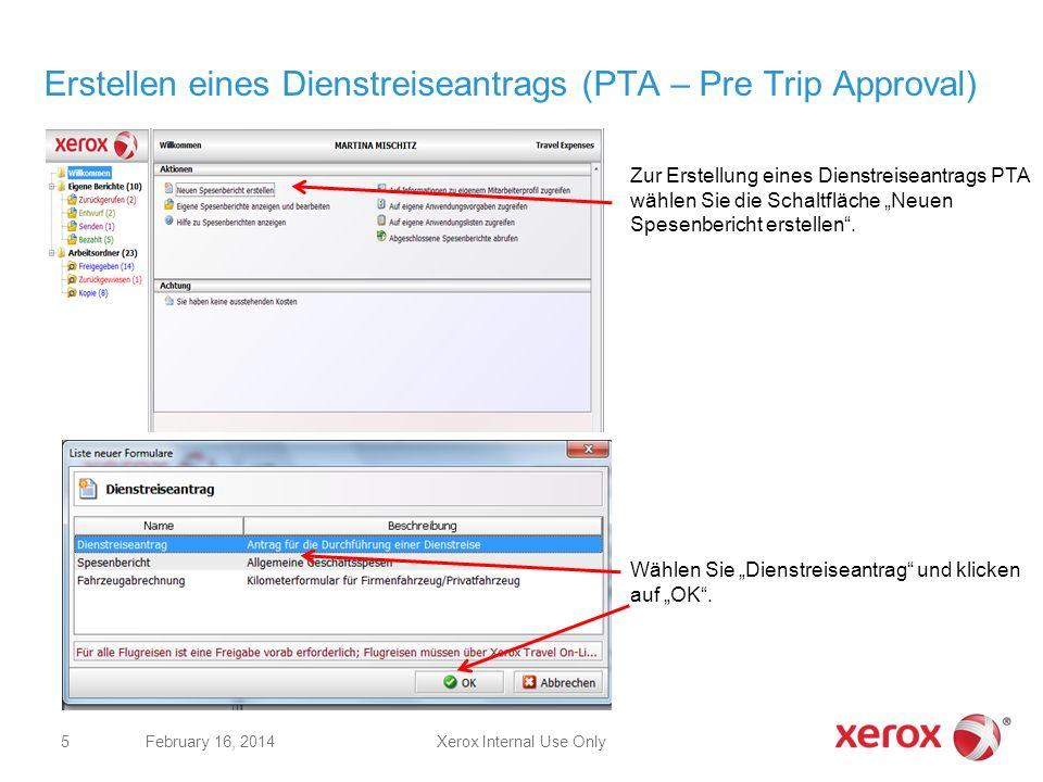 Erstellen eines Dienstreiseantrags (PTA – Pre Trip Approval)