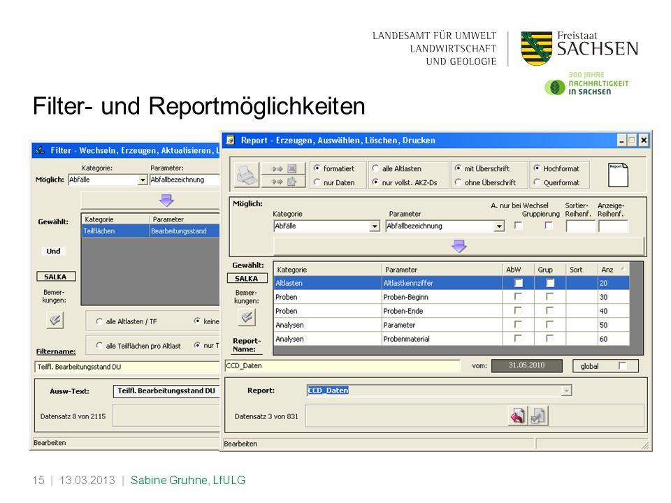 Filter- und Reportmöglichkeiten