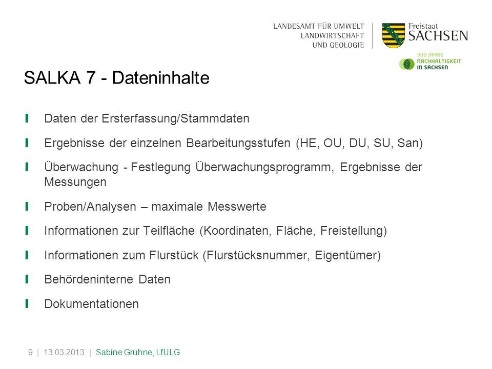 SALKA 7 - Dateninhalte Daten der Ersterfassung/Stammdaten