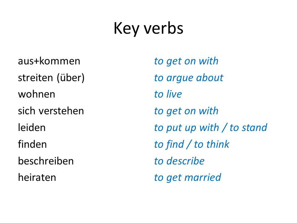 Key verbs aus+kommen streiten (über) wohnen sich verstehen leiden finden beschreiben heiraten