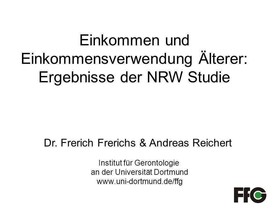 Einkommen und Einkommensverwendung Älterer: Ergebnisse der NRW Studie