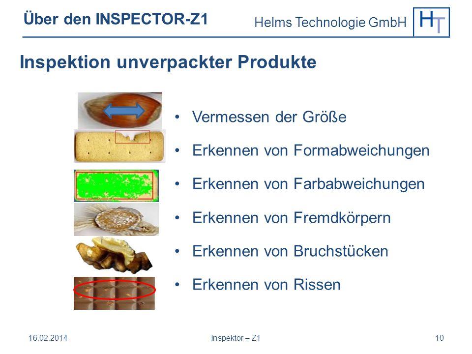 Inspektion unverpackter Produkte