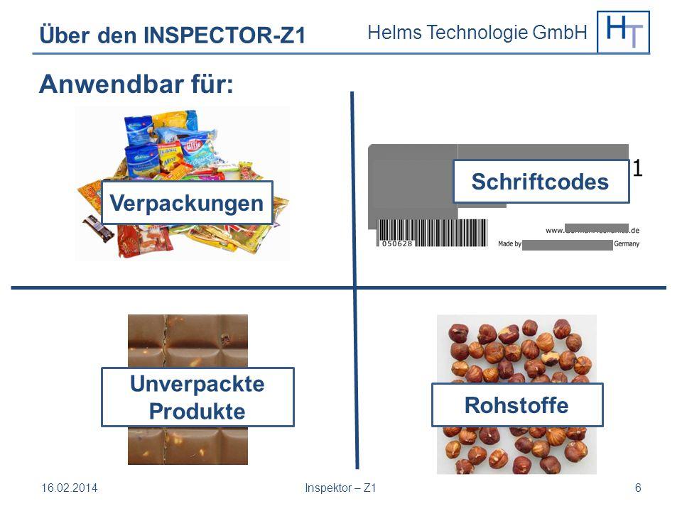 Anwendbar für: Über den INSPECTOR-Z1 Schriftcodes Verpackungen