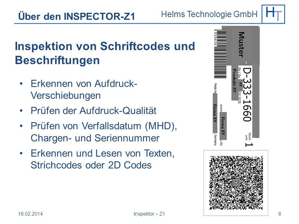 Inspektion von Schriftcodes und Beschriftungen