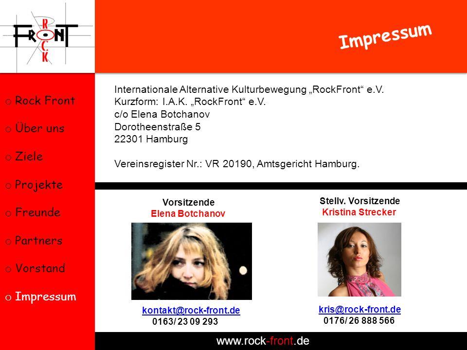 Impressum Rock Front Über uns Ziele Projekte Freunde Partners Vorstand