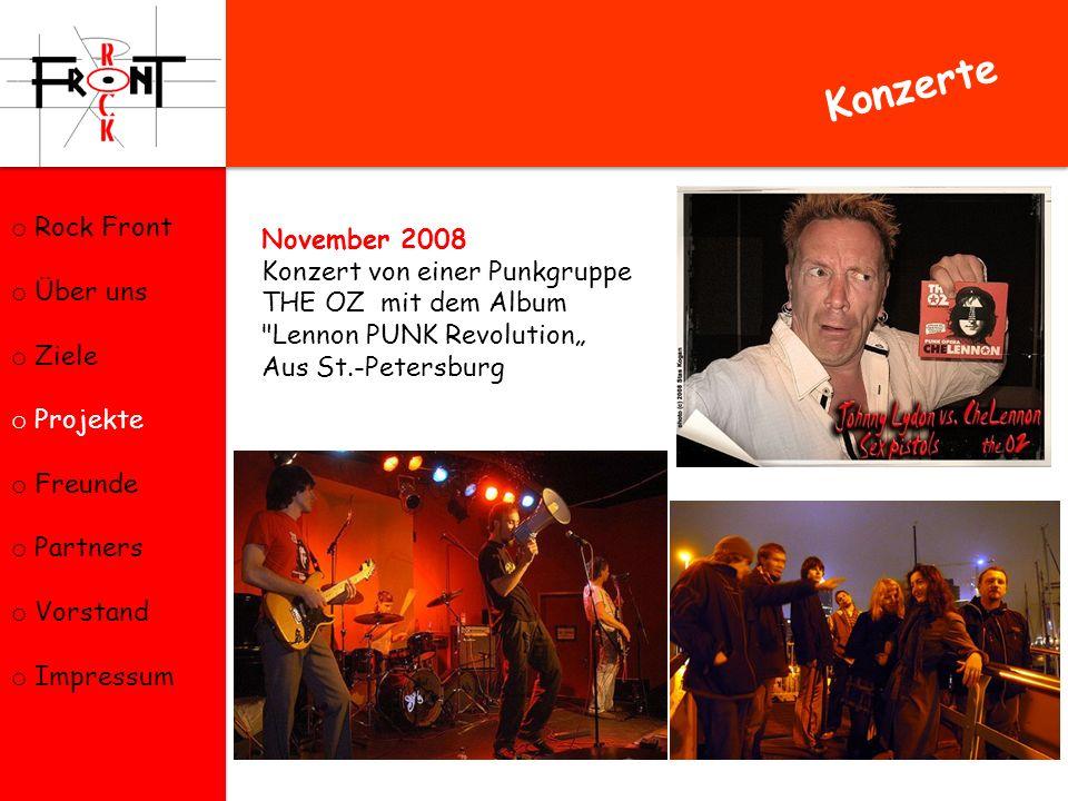 Konzerte Rock Front Über uns November 2008