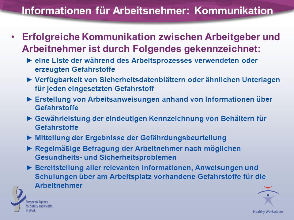Informationen für Arbeitsnehmer: Kommunikation