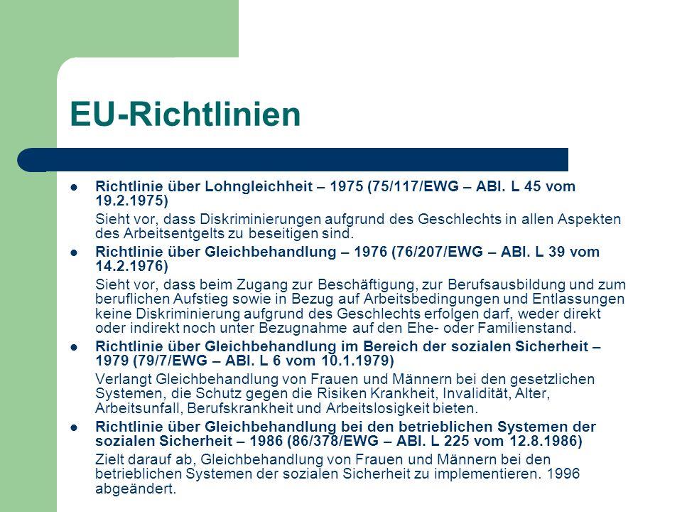EU-Richtlinien Richtlinie über Lohngleichheit – 1975 (75/117/EWG – ABl. L 45 vom 19.2.1975)
