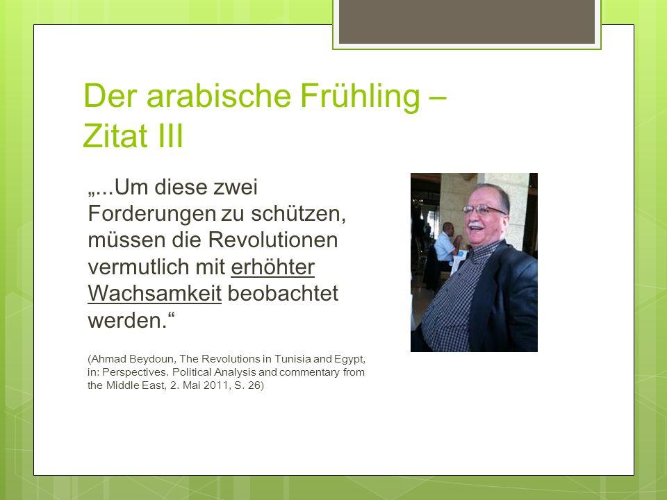 Der arabische Frühling – Zitat III