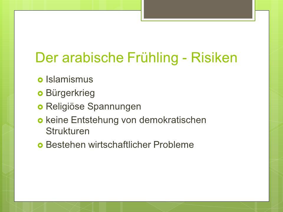 Der arabische Frühling - Risiken