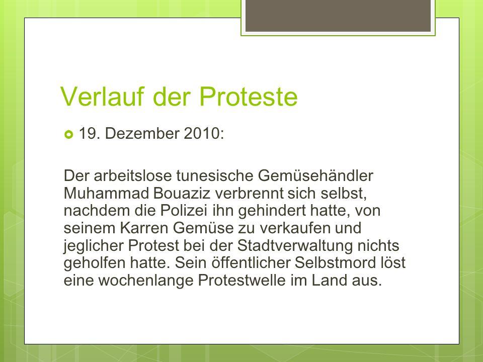 Verlauf der Proteste 19. Dezember 2010: