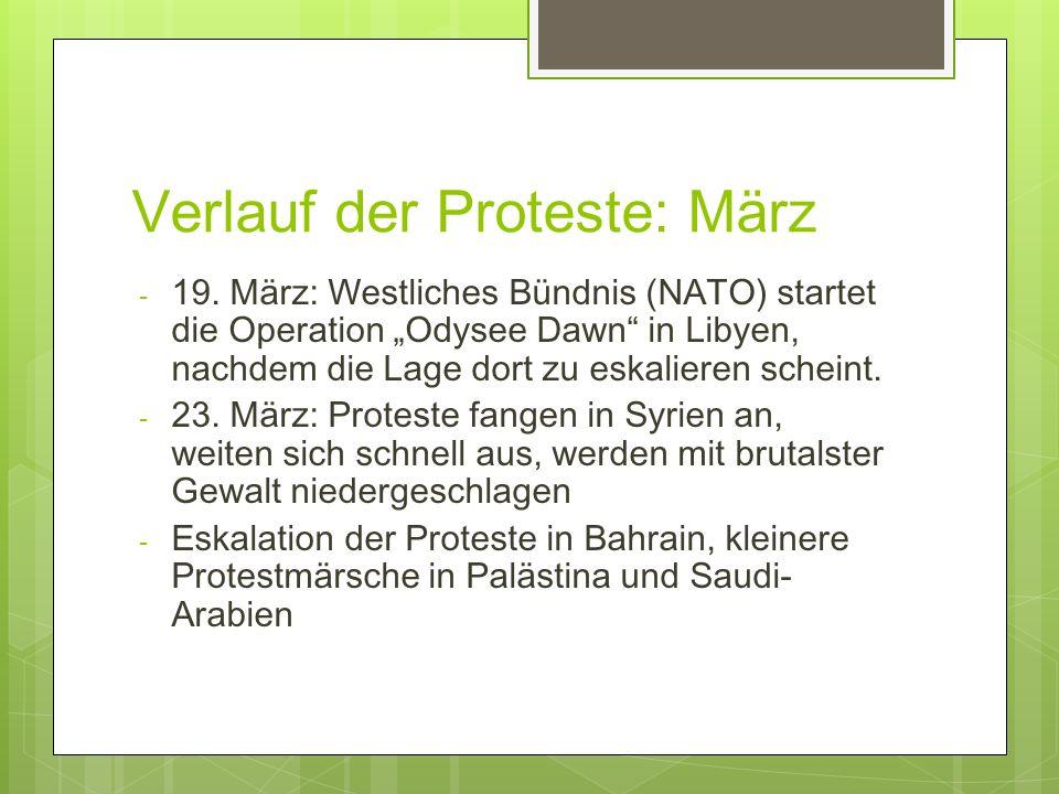 Verlauf der Proteste: März