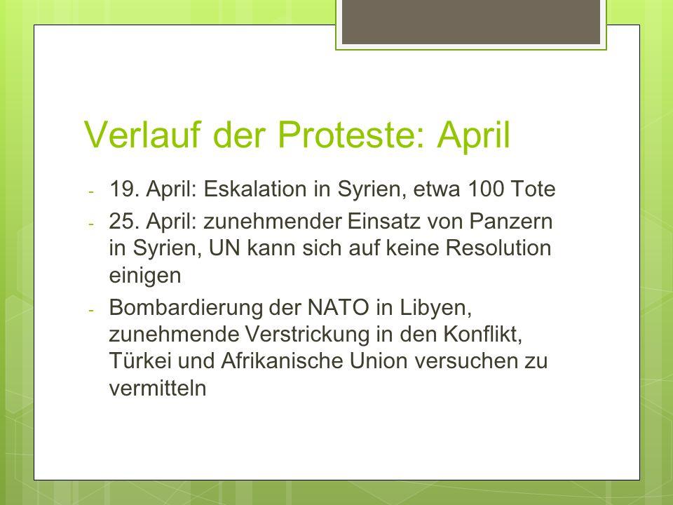 Verlauf der Proteste: April