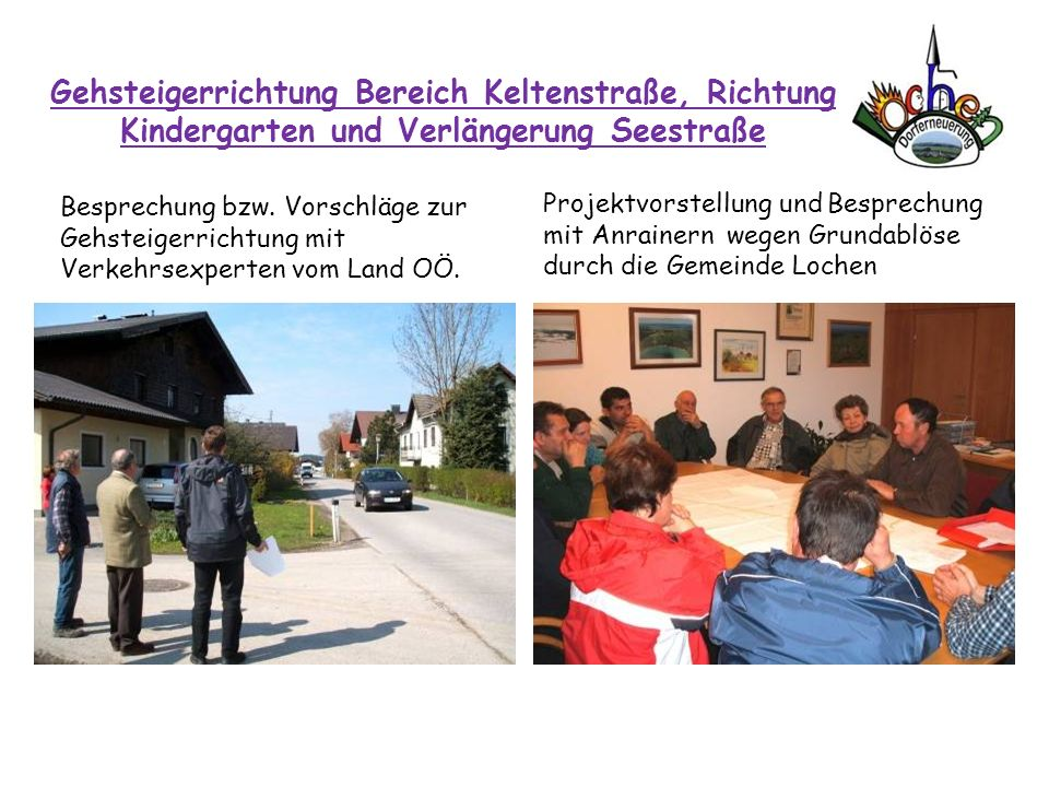 Gehsteigerrichtung Bereich Keltenstraße, Richtung Kindergarten und Verlängerung Seestraße