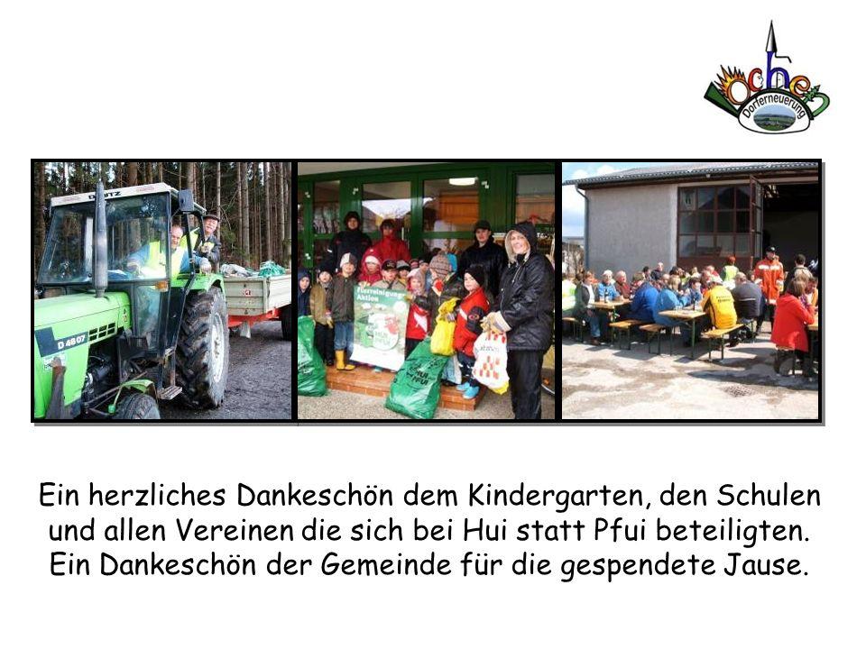 Ein herzliches Dankeschön dem Kindergarten, den Schulen und allen Vereinen die sich bei Hui statt Pfui beteiligten.