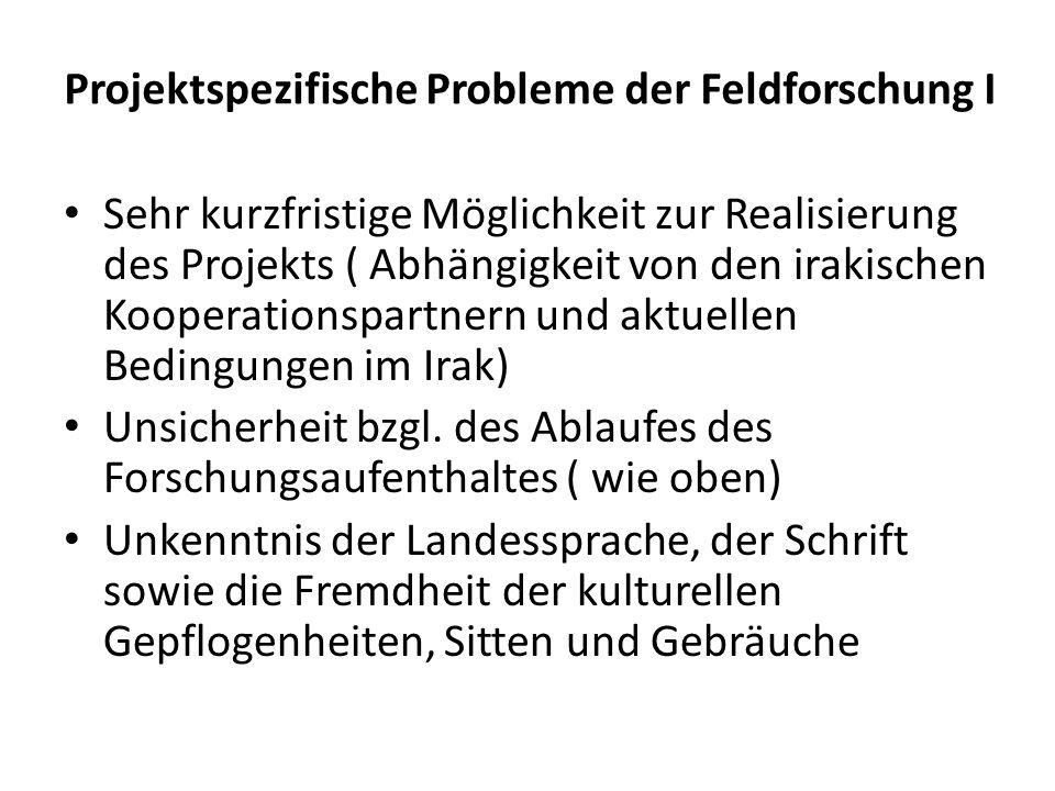 Projektspezifische Probleme der Feldforschung I