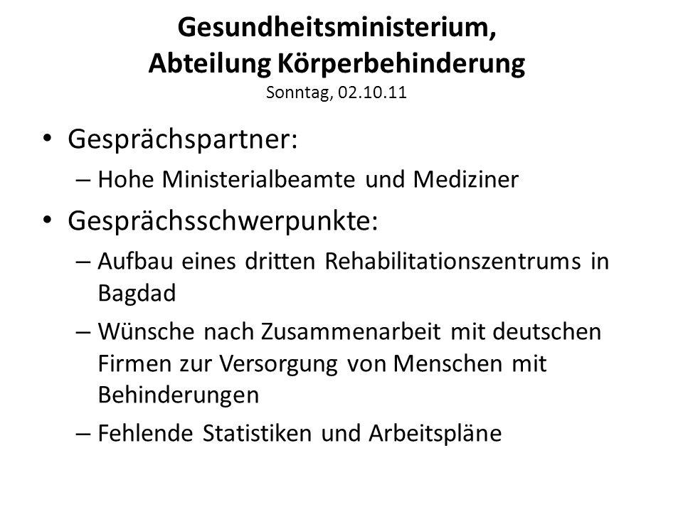 Gesundheitsministerium, Abteilung Körperbehinderung Sonntag, 02.10.11