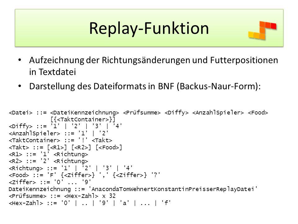 Replay-Funktion Aufzeichnung der Richtungsänderungen und Futterpositionen in Textdatei. Darstellung des Dateiformats in BNF (Backus-Naur-Form):