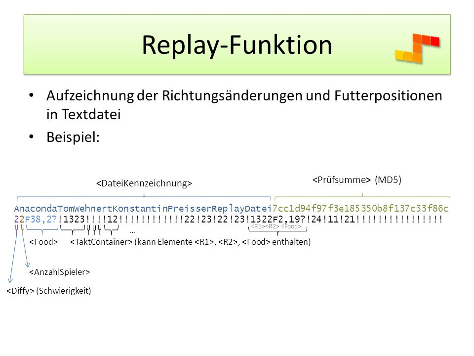 Replay-Funktion Aufzeichnung der Richtungsänderungen und Futterpositionen in Textdatei. Beispiel: <Prüfsumme> (MD5)