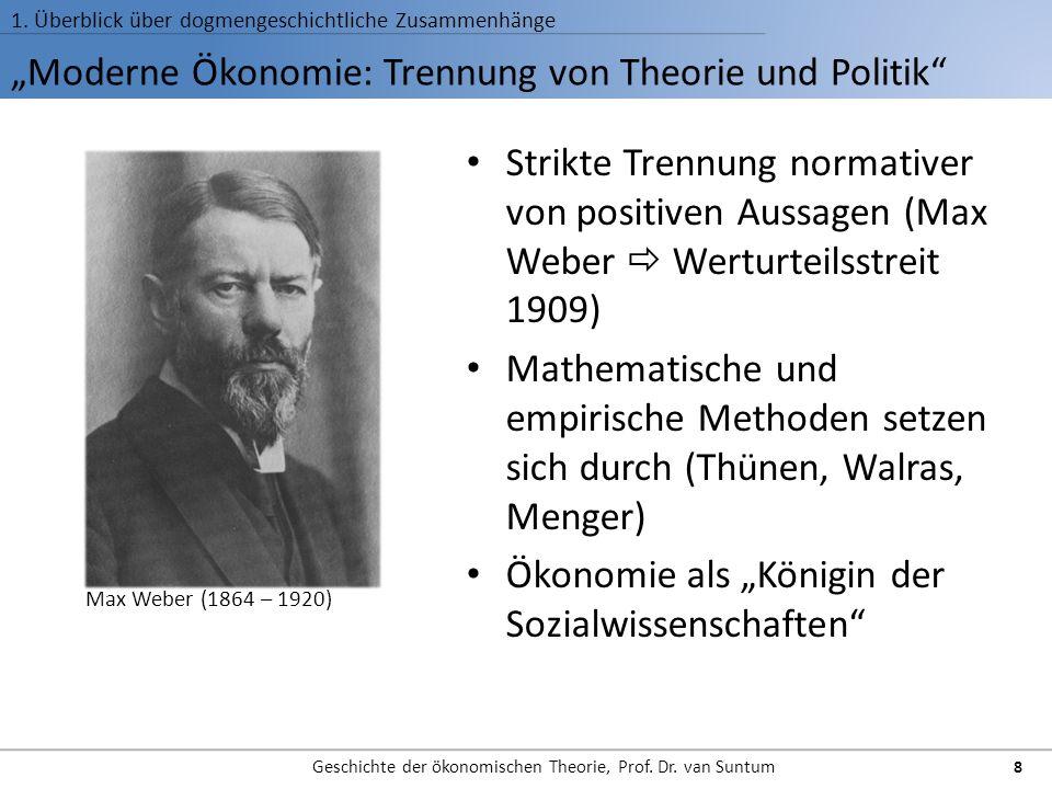 """""""Moderne Ökonomie: Trennung von Theorie und Politik"""