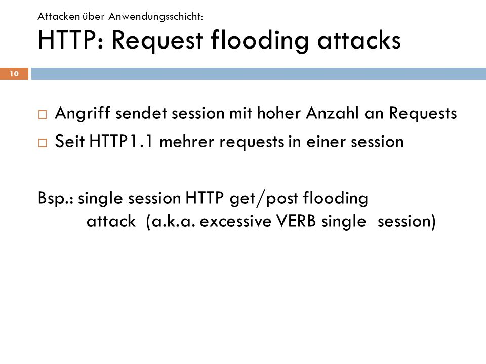 HTTP: Request flooding attacks
